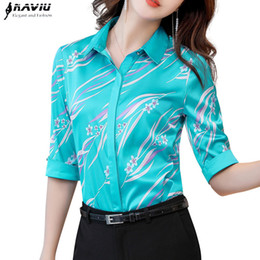 e312c271 Naviu New Fashion High Quality Print Shirt Half Sleeve Women Blouses Office  Lady Style Tops Blusas Formal Work Wear Y19043001