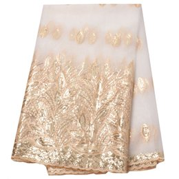 Chinese  African Lace Fabric High Quality Embroidered Tulle Lace Fabric With Sequins French Net Lace For Women Dress New white 5 yard lot manufacturers