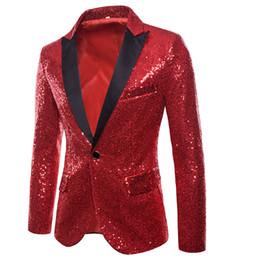 Men S Long Wedding Suit Australia - Fashion Suit Men Casual Sequins Blazer Long Sleeve Wedding Dress Blazers Solid Red Black Size S-2XL