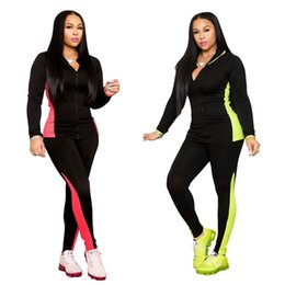sports shirts long sleeve 2019 - Women 2 piece set tracksuit sportswear gym t-shirt hoodies pants sports suit outwear leggings outfits cardigan bodysuits