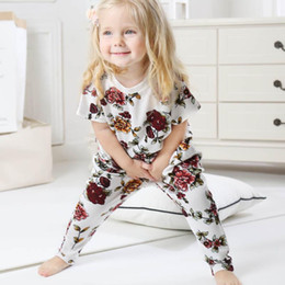53ba6c363b6dc Ins Girls Outfits Summer 2019 new Baby Suit floral short sleeve T shirt Tops +Harem Pants casual Kids Sets kids designer clothes A4241
