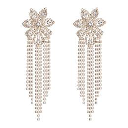 $enCountryForm.capitalKeyWord UK - Hot Sale Shiny Rhinestone Flowers Chain Dangle Earrings For Women Fashion Jewelry Party Dress Statement Earrings Accessories
