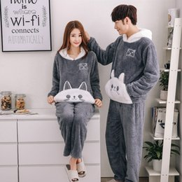 449ed83d6 2019 Flannel Couples Plush Pajamas Set Winter Thicker Hooded Men Pyjama Set  Long Pants Cat Animal Cartoon Printed Pijamas hombre