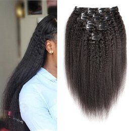 kinky coarse clip extensions Australia - Brazilian Remy Kinky Straight Hair Clip In Human Hair Extensions Natural Color 10 Pieces Set 100G Coarse Yaki Hair Extension