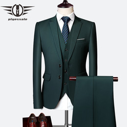 $enCountryForm.capitalKeyWord NZ - Plyesxale 3 Piece Wedding Suits For Men Slim Fit Men's Suits Formal Burgundy Green Purple Yellow Red White Man Suit 5xl 6xl Q63 Y190420