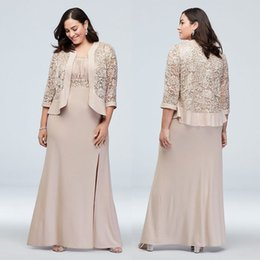 wedding guest dresses jackets NZ - Champagne Plus Size Lace Mother of the Bride Dresses Sequined Mermaid Wedding Guest Dress With Long Sleeves Jackets Chiffon Evening Gowns