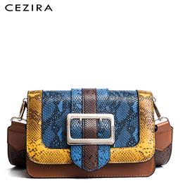 Big Ladies Handbags Australia - CEZIRA Women Big Buckle Shoulder Flap Bag Female Fashion Snake Vegan Leather Box Handbag Ladies Small Animal Print Color Bags