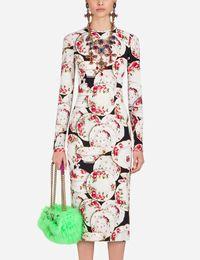 Großhandel Blumendruck Frauen Etuikleid Rundhalsausschnitt Elegante Langarm Partykleider