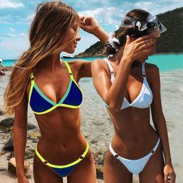 Sexy Thong Micro Bikinis Women Swimsuits Solid Push up Swimwear Female Bikini set Brazilian Biquini Bathing Suit 2020 on Sale