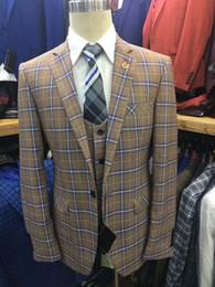Ternos Slim Fit Suit Australia - new fashion plaid Men Suit Slim Fit 3 Pieces Tuxedo Groom Groomsman Custom men suits for wedding ternos para hombre kingsman blazer sets