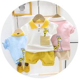 blue zebra clothes NZ - Summer Baby boy's suit Baby Clothing Set for Boys Cute Casual Clothes Set dinosaur Top Shorts infant Suits Kids Clothes
