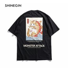 Ukiyo Cat E camiseta estampada Monster Attack Letra de los hombres Camiseta Streetwear 2019 Harajuku Hip Hop Tops Casual Tees por SHINEGIN en venta