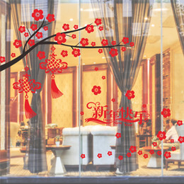 Window Stickers For Birds Australia - happy chinese new year wall stickers window glass TV background decoration festival tree bird lantern wall decals store mural D19010902