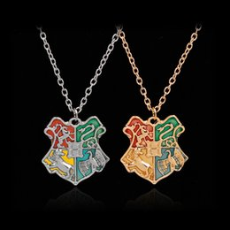 Necklaces Pendants Australia - Harry Potter Necklace Hogwarts Badge Necklace Gold Wizard Academy College Pendant Chains Harry Potter Fashion Jewelry Free