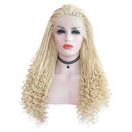 hair braiding UK - Ash Blonde Box Braided Synthetic Wigs Cospaly Full Lace Front Wigs Loose Curly Root Heat Resistant Fiber Hair Wig for White Women