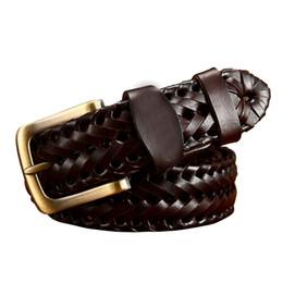 Black leather girdles online shopping - Woven belt genuine leather women straps man belts Wide girdle Male cow skin vintage fashion brand ceinture femme