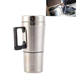 China 300ml Car Based Heating Stainless Steel Cup Kettle Travel Trip Coffee Tea Heated Mug Motor Cigarette Lighter Plug suppliers