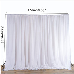 silk backdrops 2019 - White Sheer Silk Cloth Drapes Panels Hanging Curtains Photo Backdrop Wedding Party Events DIY Decoration Textiles 2.4x1.