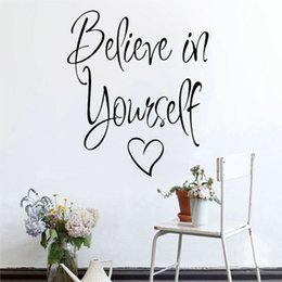 3d Adhesive Letters Australia - Personality Letter Wall Sticker Believe In Yourself Removable Art Vinyl Mural Self Adhesive Home Room Decor Wall Stickers