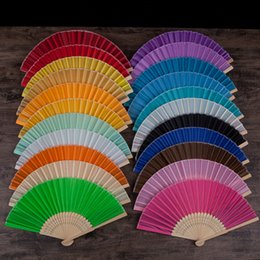 Favors Fans Free Shipping Australia - Wedding Favors Gifts Cloth Folding Fan Elegant Solid Candy Color Silk Bamboo Fan DIY Drawing Color Fan 23 Colors DHL Free Shipping