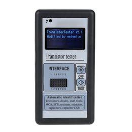 Venta al por mayor de Freeshipping Multifuncional Retroiluminación LCD Transistor Probador Diodo Tiristor Medidor de capacitancia ESR LCR Meter con caja de plástico gris
