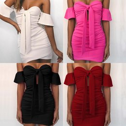 Wholesale 2019 spring and summer new European and American style Solid color bandage tube top sexy bag hip dress