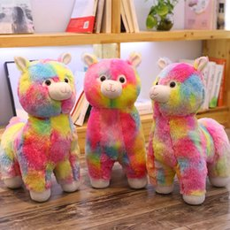 japanese lovely dolls UK - 1pc 45CM Cute Rainbow Japanese Lovely Alpaca Plush Toy Cute Stuffed Soft Toys Animal Sheep Dolls Home Decor Valentine's Presents