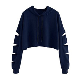 Wholesale cold jumper for sale - Group buy Fashion Hoodies Sweatshirt Female Harajuku Long Sleeve Cold Shoulder Hot Sale Sweatshirts Streetwear hip hop Jumper Hooded Clothes Moletom