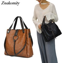 Hand Bag Large Brown Australia - Znakomity Handbags Women's Genuine Leather Shoulder Bag Women Bag Vintage Big Large Black Brown Tote Cross Hand Bags For Women J190511