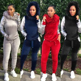 $enCountryForm.capitalKeyWord NZ - Hooded Velour 2 Piece Set 2018 Winter Women Tracksuits Casual Hole Hollow Round Collar Long Sequin Sleeve Hoodie Pants Sets Active Outfits