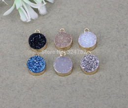 $enCountryForm.capitalKeyWord Australia - 10pcs 10mm Mix color Natural Quartz Stone Pendants,Round Pendants,Gold Metal charm Gem stone Druzy Pendants,For Jewelry Making