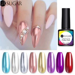 Wholesale golds effect resale online - UR SUGAR ml Rose Gold Metallic Gel Nail Polish Mirror Effect Silver Soak Off UV Gel Varnish Semi Permanent Nail Art Lacquer