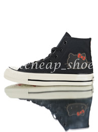 Kitty fabric online shopping - Cute Kitty x Chuck HI s chuck Women Casual Canvas Shoes Skate Womens Designer Sneakers Trainers Size