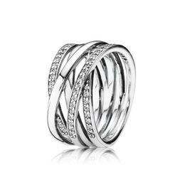 $enCountryForm.capitalKeyWord Australia - Luxury Fashion 925 Sterling Silver CZ Diamond Wedding RING Original Box for Pandora 18K Rose gold interwoven Ring Set