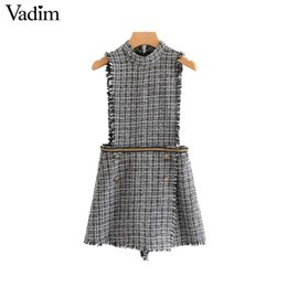 Chinese  Vadim women tweed plaid playsuits with chains fringe tassels buttons back zipper rompers vintage overalls suspender shorts KA442 manufacturers