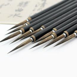 Chinese Brush Painting Australia - Copper head Hook Line Fine Paint Brush Chinese Calligraphy Brush Pen Paint Brush Art Stationary Oil Painting 3pcs set X 2 set