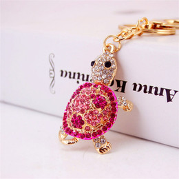 turtle charm green Australia - Cute Animal Tortoise Trinket Gold Rhinestones Turtle Key Chain Jewelry Metal Car Keyring Women Handbag Charm Key Holder