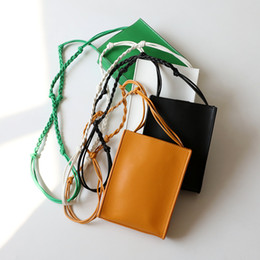 mini small mobile phone new 2019 - 2019 New INS Popular Single Shoulder Woven Rope Bag Mini Cowhide Small Square Bag Cow Leather Mobile Phone Designer Bags