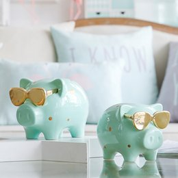 $enCountryForm.capitalKeyWord Australia - 1 Piece Money Box Piggy Bank Cool Pig Statue Coin Box for Money Birthday Gift for Children Creative Home Decor Ornament