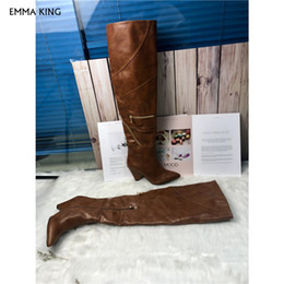 Zipper Spikes Australia - New Brown Zipper Details Thigh High Boots Spike Heels Pointed Toe Cowboy Botas Mujer 2019 Fashion Party Shoes Woman Heels Ladies