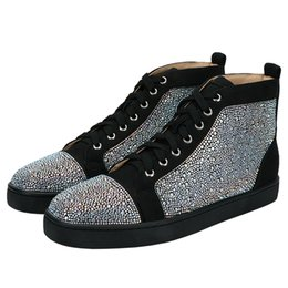 $enCountryForm.capitalKeyWord Australia - Fashion Suede Leather Men Casual Shoes Rhinestone Mens Casual High Top Lace Up Sneakers Flat Loafers Footwear Runway Chaussures Hommes