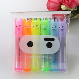 pen pack NZ - 6 Pcs   Pack, Wholesale Creative Morning Cartoon Cute Ninja Rabbit Mini 6 Sticks Fluorescent Pen