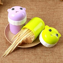 toothpick holder wholesale Australia - Cartoon Automatic Toothpick Dispenser Holder Container Plastic Household Table Toothpick Storage Box Case