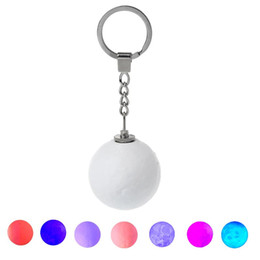 Wholesale Glow Keychain D Print Moon Lamp LED Night Lights Novelty Moon Lamps Key Ornamental Pendant Lamp Key Chain Ring
