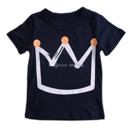 girl tops 6t 2019 - INS Baby Crown print T-shirt 2019 summer children Tees Boys Girls tops Boutique Designer kids Clothing 2 colors C6477 ch