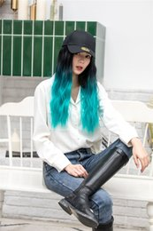 """Heated Hair Cap Australia - fashion women's hat wig Hat with Hair ombre 20"""" Long Wavy Hair Cap Heat Resistant Easy Use Wigs New women's wig with hat synthetic wig"""
