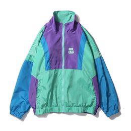 $enCountryForm.capitalKeyWord UK - mens Autumn Hip Hop Windbreaker Jacket Oversized Mens Harajuku Color Block Jacket Coat Retro Vintage Zip Track Jacket Streetwear JKW72