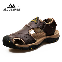 rubber walk NZ - Men Sandals Brand Summer Genuine Leather Sandals Men Outdoor Beach Slippers Walking Sport Male Rubber Sole Casual Shoes Big Size