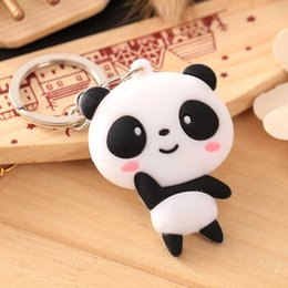 wholesale car lining Australia - Panda shaped key chain car motorcycle line key ring holder Three dimensional cute rubber pendant keychain