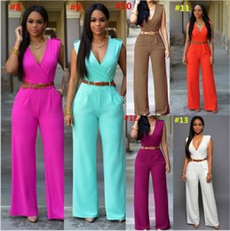 women s pink tutu Australia - Women Jumpsuit High Waist Wide Leg Pants Solid Sleeveless Rompers With Belt Summer Designer One-piece Bodysuit Party Outfits S-2XL 2019
